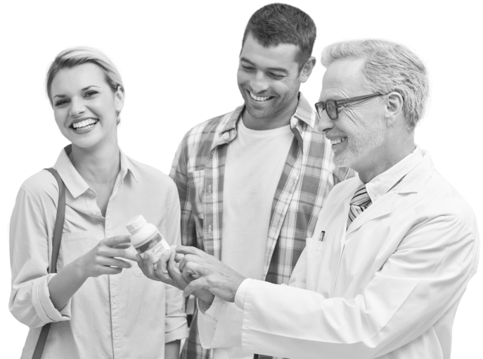 black and white photo of a happy costumers with doctor