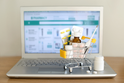 different kinds of medicine pills and tracking delivery online concept